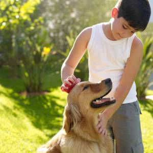 Autistic boy with dog