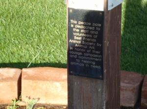 Dedication on Peace Pole