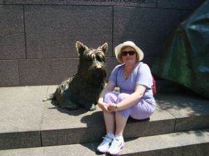 The Fala statue is quite large; this is me sitting next to it (for scale).