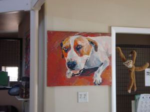 A painting of Eve hangs in the foyer of her kennels at Old Friends