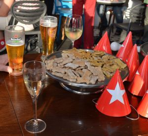 The 'spread' was a mixture of dog treats and people food.  (The beer and wine were for the human guests)