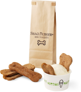 Shake dog biscuits