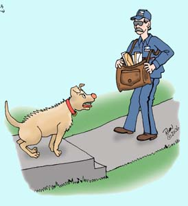 Postal worker with dog