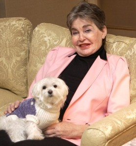 Leona Helmsley with her dog, Trouble