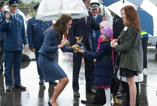 A soft toy police dog was a gift to Kate, presumably for Prince George (photo by Getty)