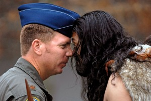 A hongi performed at a welcoming ceremony (U.S. Air Force photo/Tech. Sgt. Shane A. Cuomo)