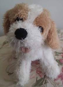 """The """"other dog"""" – the stuffed, animated pooch used in the experiment. Photo by Caroline Prouvost."""