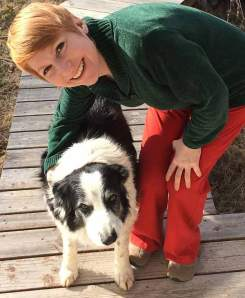 Emotion researcher Christine Harris, professor of psychology at UC San Diego, with Samwise, one of three border collies to inspire the study on dog jealousy. Photo by Steve Harris.