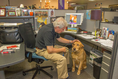 Risdall Public Relations employee Len Mitsch takes advantage of the firm's pet-at-work policy with his dog, Rowdy. Photo courtesy of Risdall Public Relations
