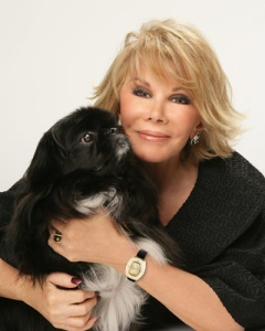 Joan Rivers and her dog, Max, who passed away earlier this year (Photo by Chicago Now)