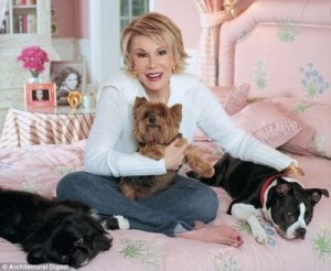 An earlier photo of Ms Rivers with her dogs (photo originally from Architectural Digest)