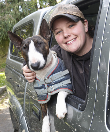 Angel Marsh with Remi; credited with saving a man trapped in a wrecked car (Photo by Fairfax NZ)