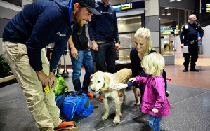 Arthur and his new family at the airport