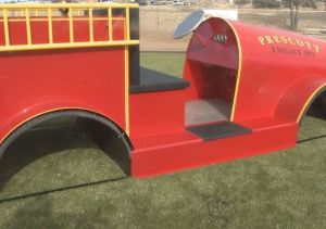 This canine play equipment has a fire engine theme (Photo by 12 News)