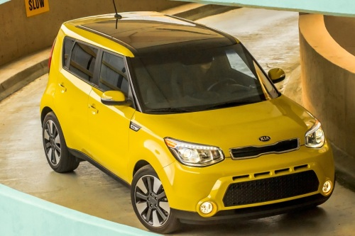 "The Kia Soul - ""This stylish urban cruiser offers rear-seat heat and an extra-large panoramic roof for lots of sunlight. Its boxy and efficient shape also allows for plenty of headroom, so even though the Soul is compact, it comfortably accommodates big and tall dogs. The large rear hatch is also a plus for quick entry and exit."""