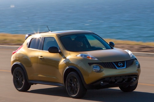 """Nissan Juke - """"This little urban runabout offers a low, carlike ride height for easy in and out, especially via the large rear hatch. A combination of coupe, crossover and hatchback, the Juke offers just the right amount of size and utility for small-to-medium dogs that ride in carriers. Tether down the crate, and get out of the city for the weekend!"""""""