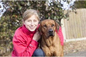 Kim Hodge and her Rhodesian Ridgeback, Kamba
