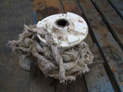 Wet wipes clogging the pumping system (photo by Marlborough District Council)