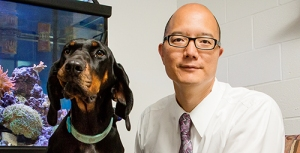 Timothy Fan, professor of veterinary clinical medicine. With his personal dog, Ember
