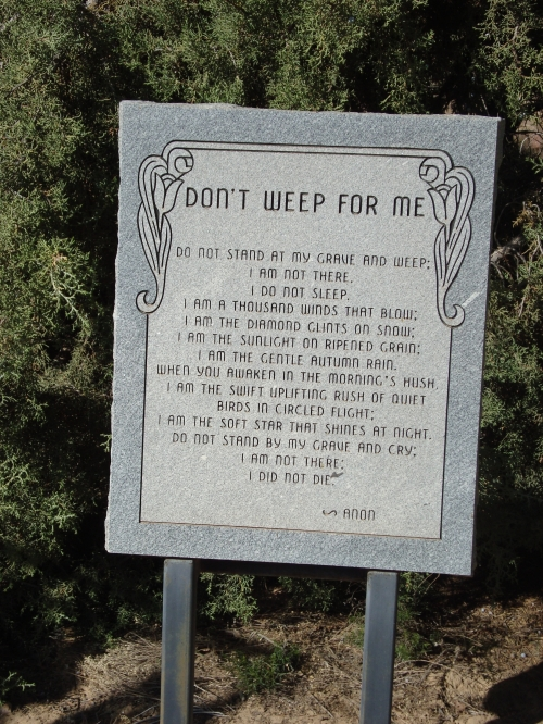 Don't weep for me gravestone