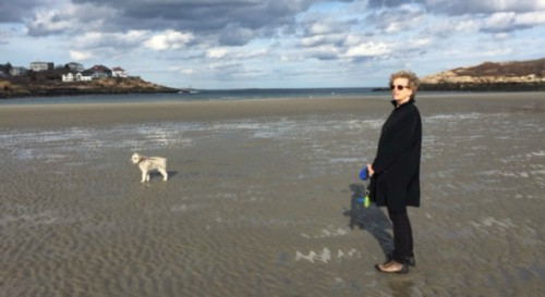 Boston journalist Anita Diamant pictured with Buddy at Good Harbor Beach in Gloucester, Mass., winter 2013. (photo by Ms Diamant)