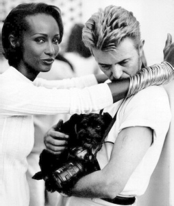 Iman, David Bowie and pet dog