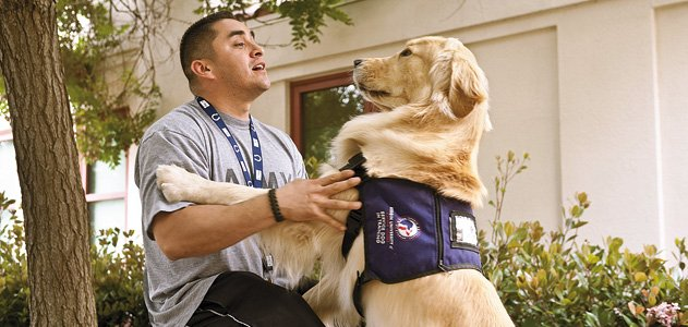 Soldier with PTSD and dog