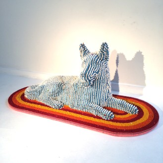 Crayon dog in blue and white on rug