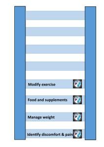 Arthritis management diagram with 4 rungs
