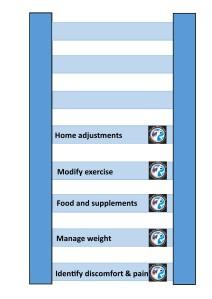 Arthritis management diagram with 5 rungs
